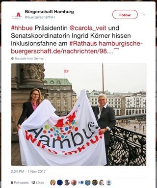 Fahne am Hamburger Rathaus: Hamburg wird inklusiv