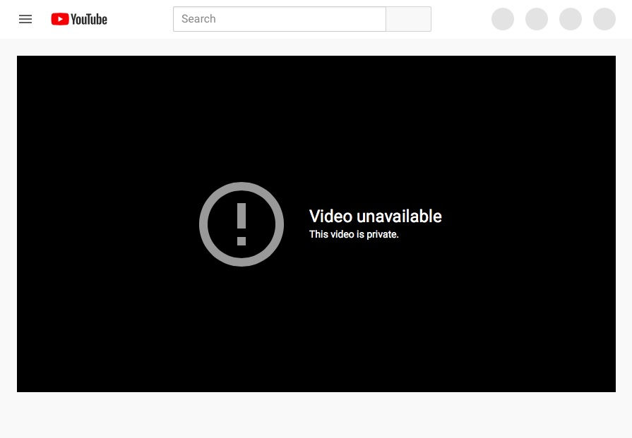 youtube message: video unavailable